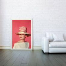 Audrey Hepburn  Pink Hat Celebrity Icon - Decorative Arts, Prints & Posters,Wall Art Print, Poster Any Size - Black and White Poster